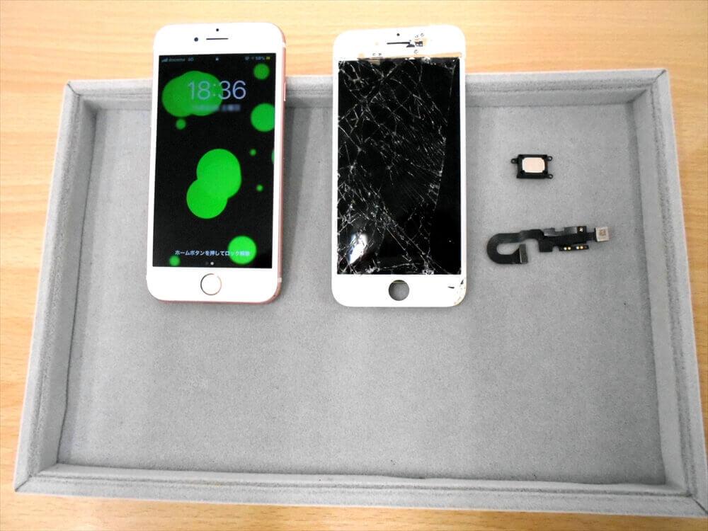 iPhone液晶割れからインカメラ・イヤースピーカー故障